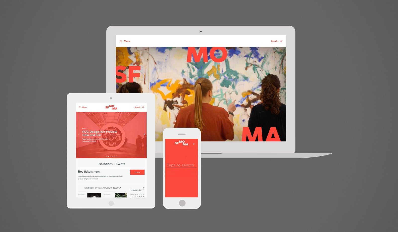 Screenshots of the SFMOMA website inside various device mockups