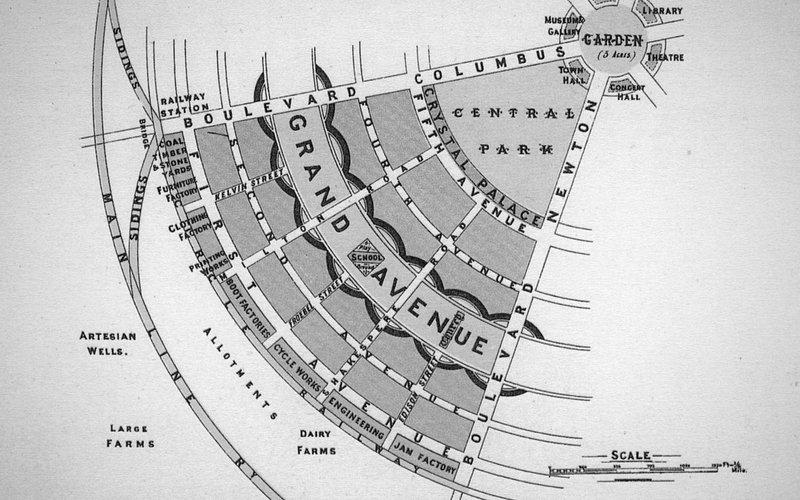 Old map of the Garden City urban concept