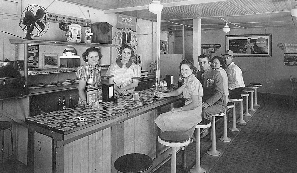 Interior photo of a milk bar circa 1950's