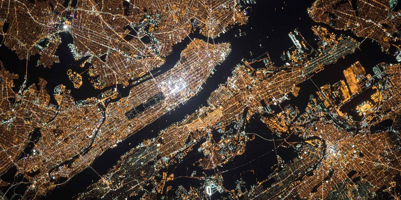 Satellite photo of New York City at night