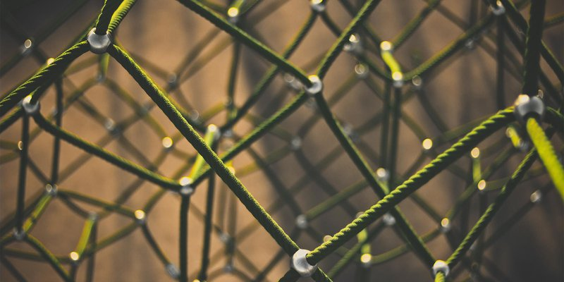 A mesh of interconnected ropes