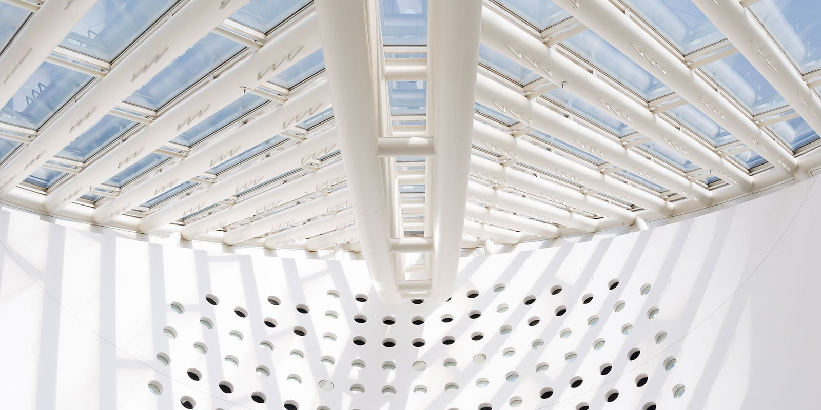 Photo of SFMOMA roof structure from inside