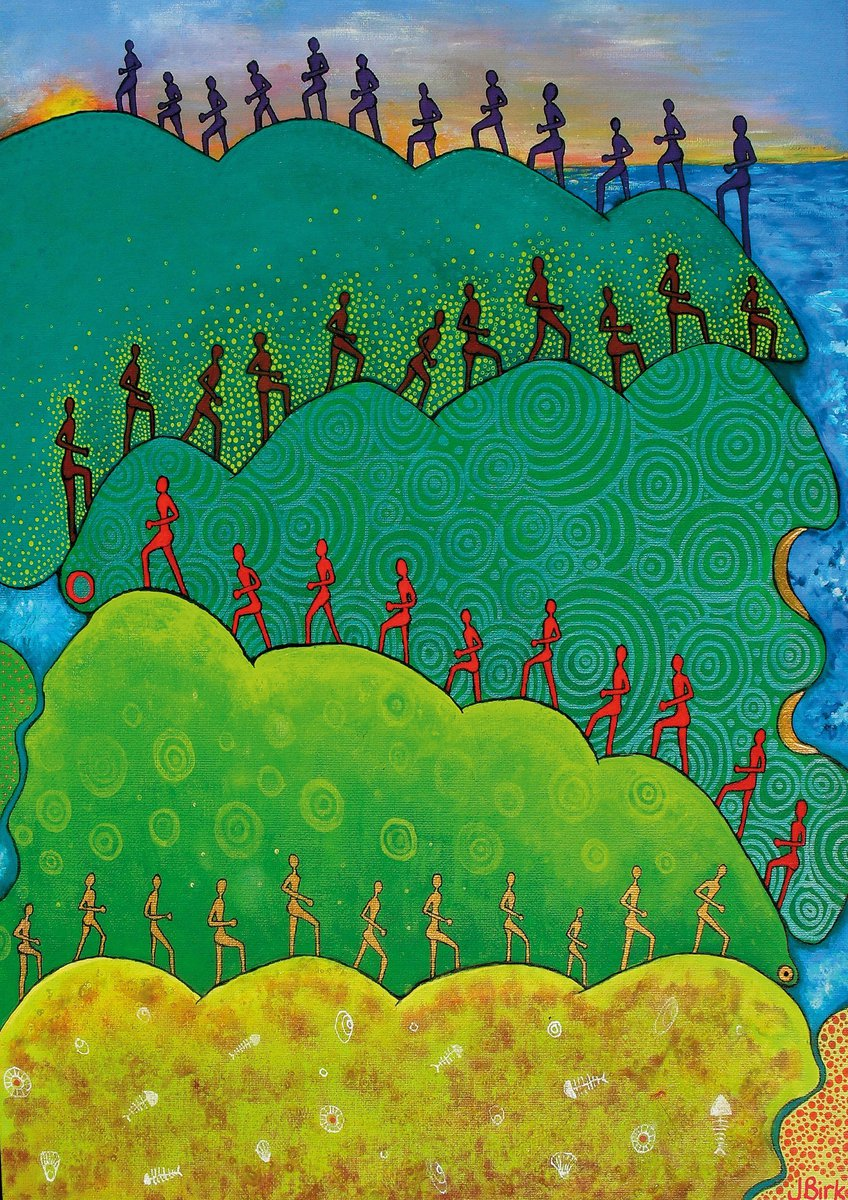 Indigenous illustration of human figures walking up a hill