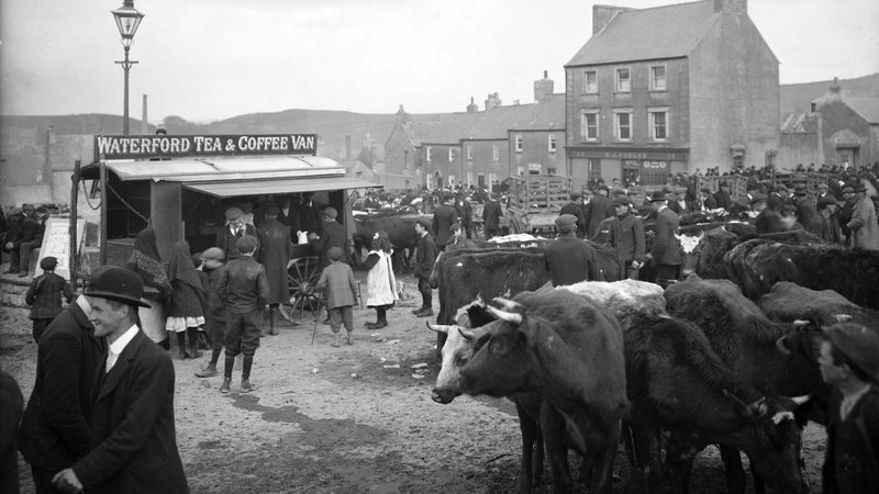 Tea and Coffee cart at a cattle market in Ireland in the 19th Century