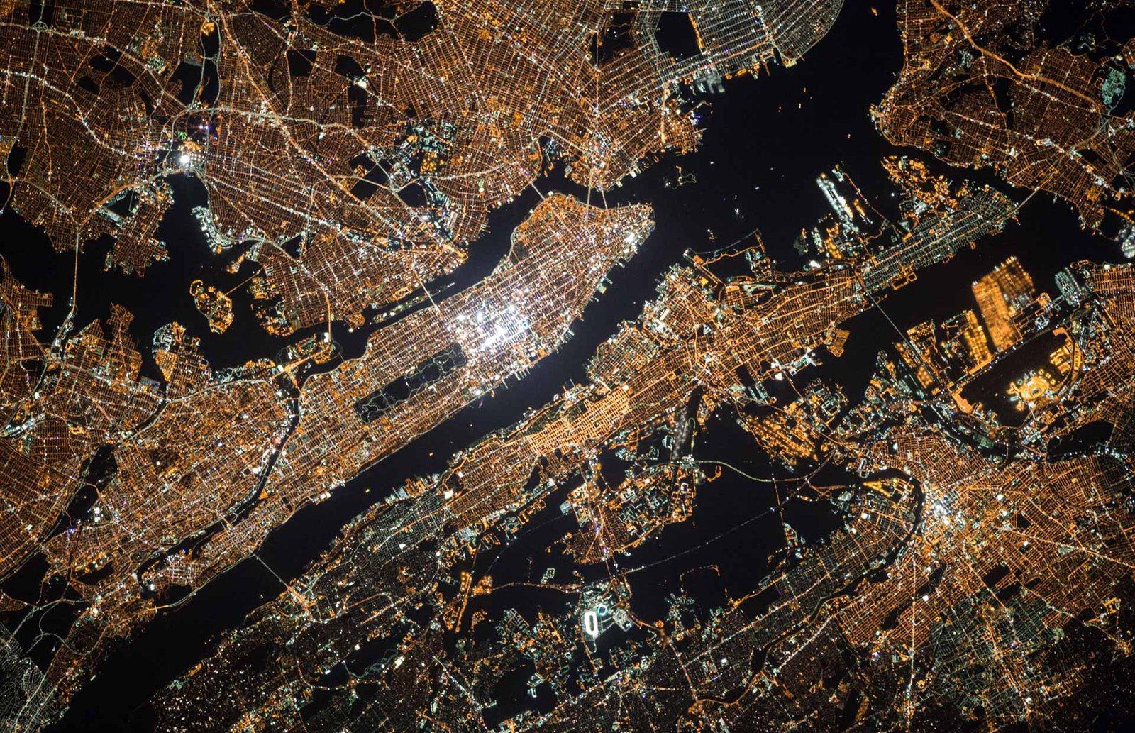 Satellite photo of New York City at night