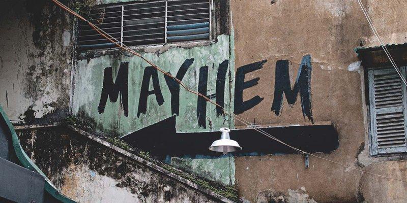 "Grafiti spelling out the word ""Mayhem"""