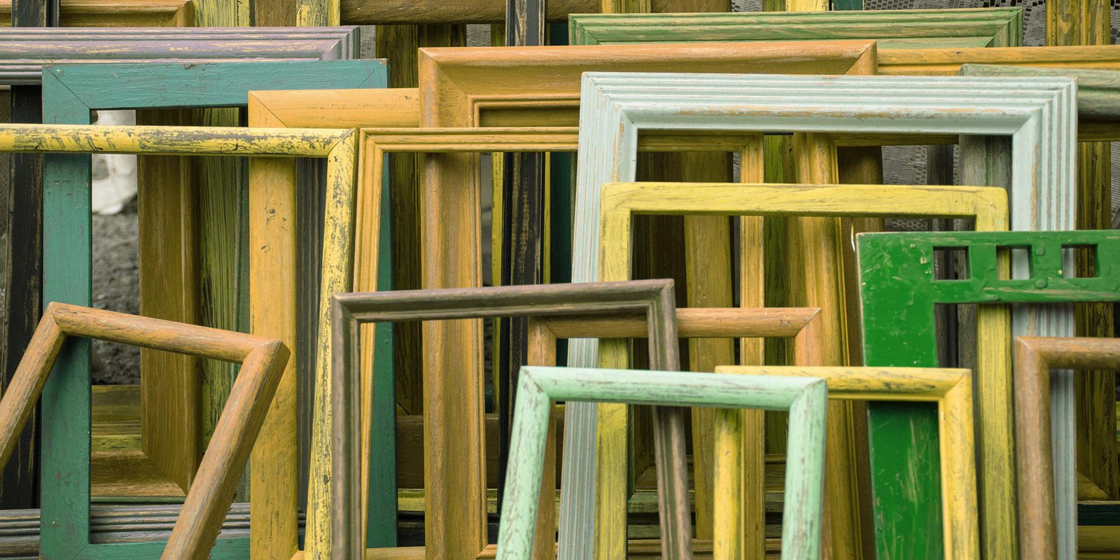 Stack of wooden picture frames
