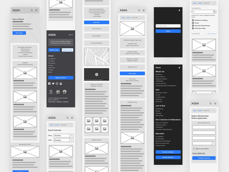 Various AGSA wireframes