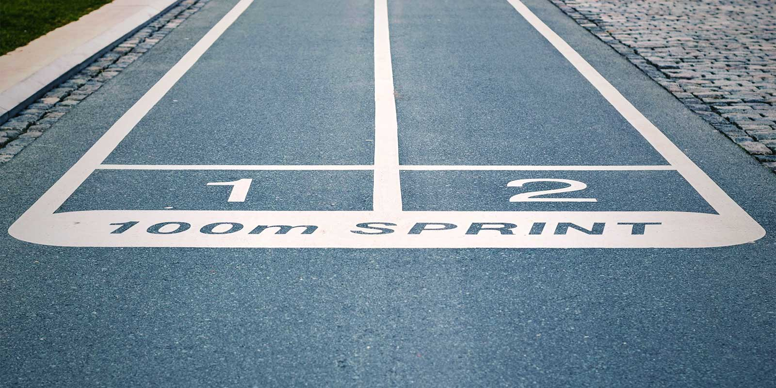Starting line of a 100m sprint track