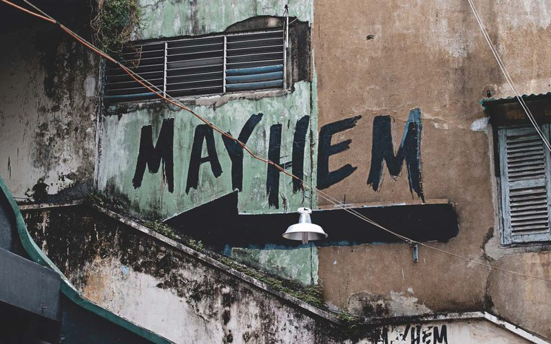 "Grafiti spelling out the word ""Mayhem"""