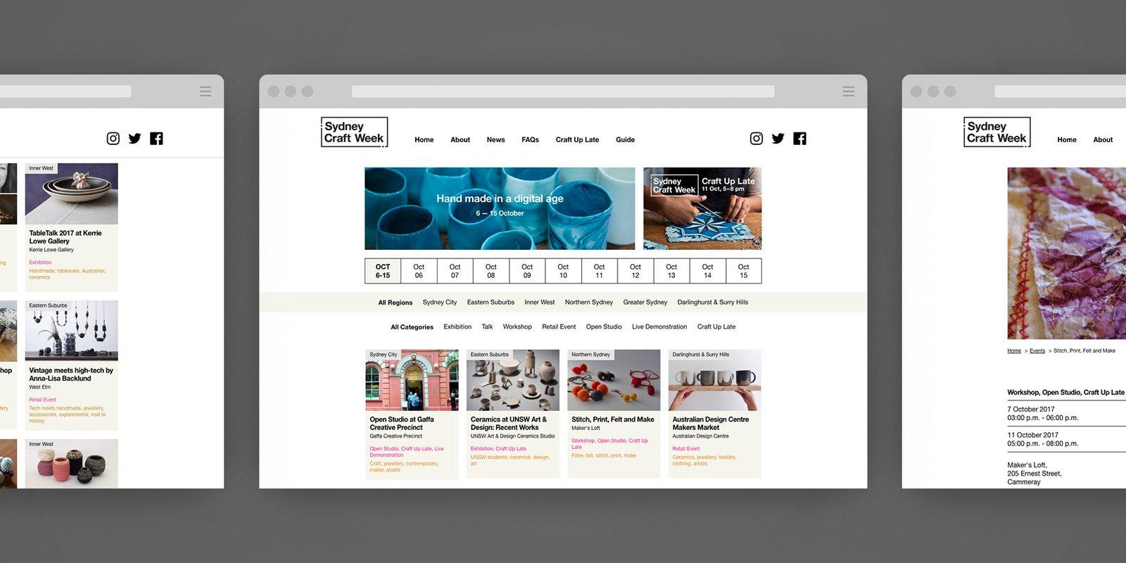 Screenshots of Sydney Craft Week website